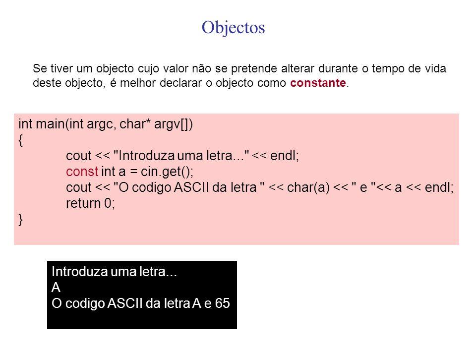 Objectos int main(int argc, char* argv[]) {